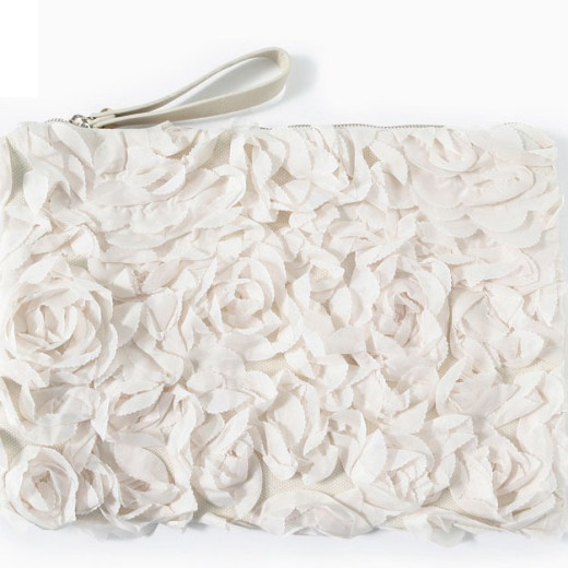 KrisKlank White Flower Clutch Bag