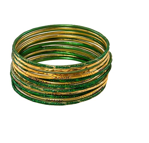 KrisKlank Indian Bangles Gold Green Simple Finish