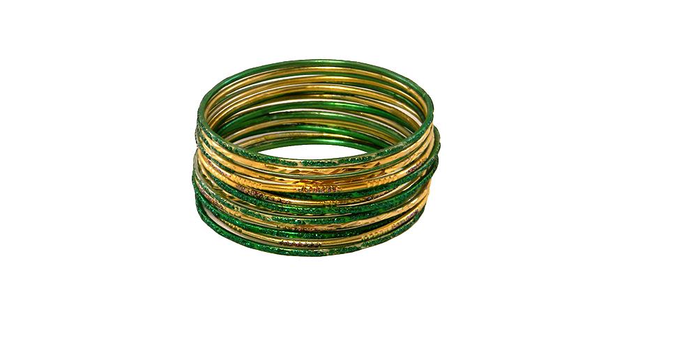 Krisklank indian bangles gold green simple finish