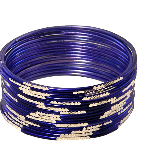 Krisklank Indian Bangles Blue Silver
