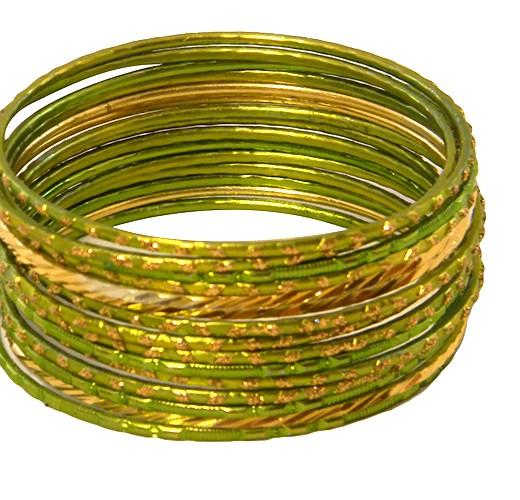KrisKlank Indian Bangles Light Green Gold