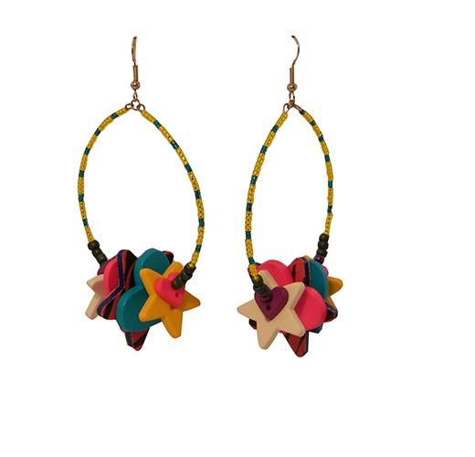 kkl eopard blue star earrings1