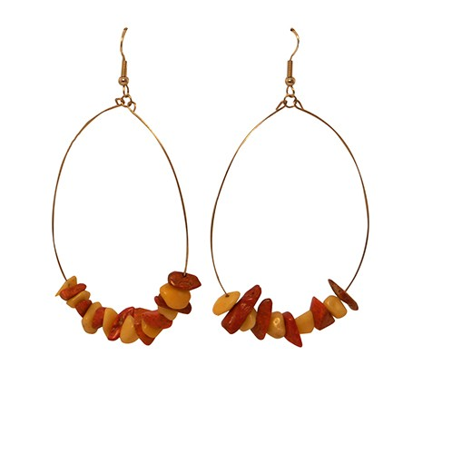 Earthy oval hoops brown Tan
