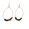 Oval Grey black stone Hoops